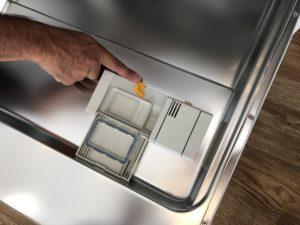 ミーレ食洗機の洗剤を入れるところ